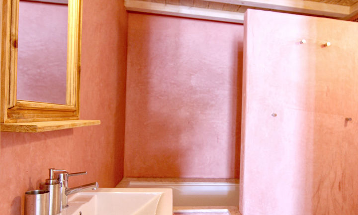 bathroom with rose Tadelakt plaster